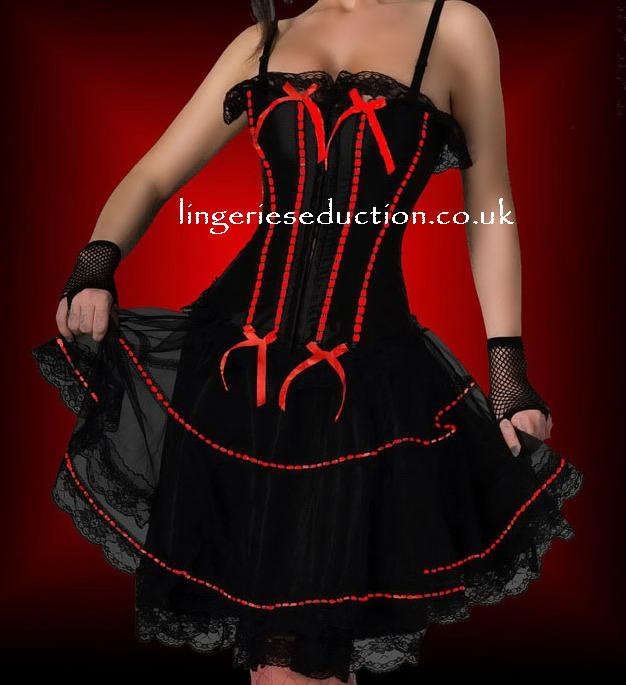Red Ribbon Trim Basque & Petticoat Set