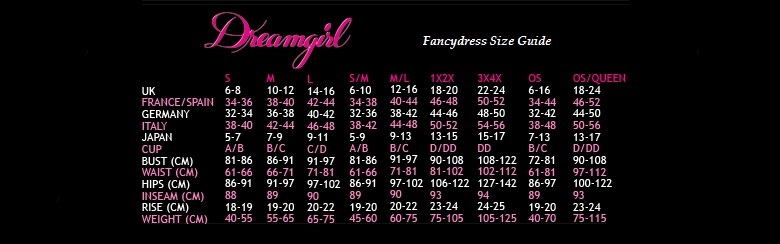 Fancydress Size Guide