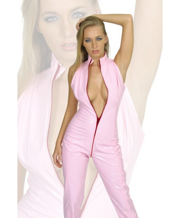Pink Sleeveless PVC Catsuit