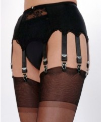 10 Strap Lace Panel Vintage Suspender Belt