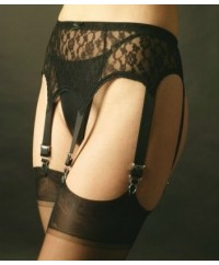 6 Strap Black Lace Vintage Suspender Belt