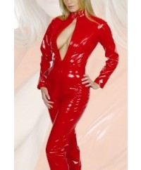 Red All-In-One PVC Catsuit