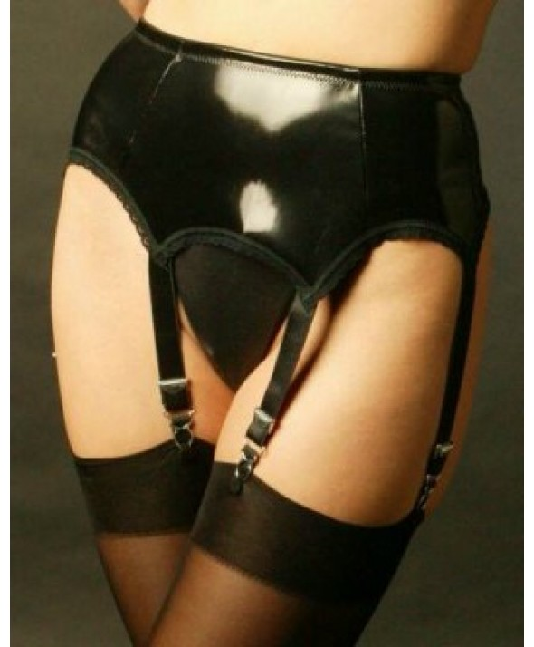 6 Strap Black PVC Vintage Suspender Belt