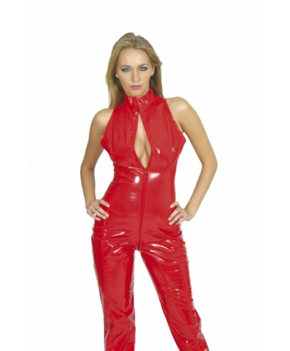 Red Sleeveless PVC Catsuit