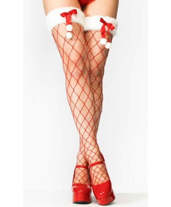 Fur Trim & Pom Pom Red Fencenet Diamond Christmas Stockings
