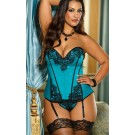 Eyelash Lace Satin Corset