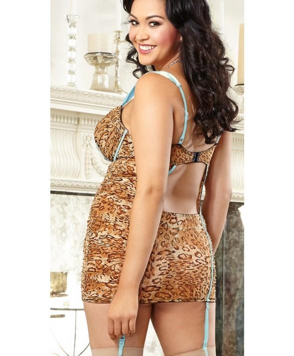 Leopard Suspender Garter Slip