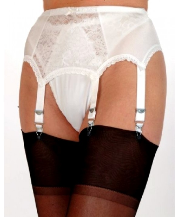 6 Strap Lace Panel Vintage Suspender Belt