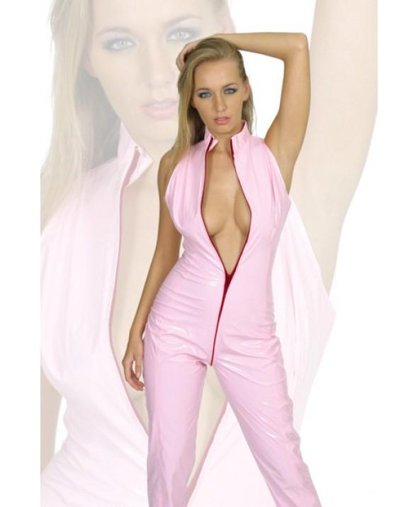 Pink Sleeveless PVC Catsuit