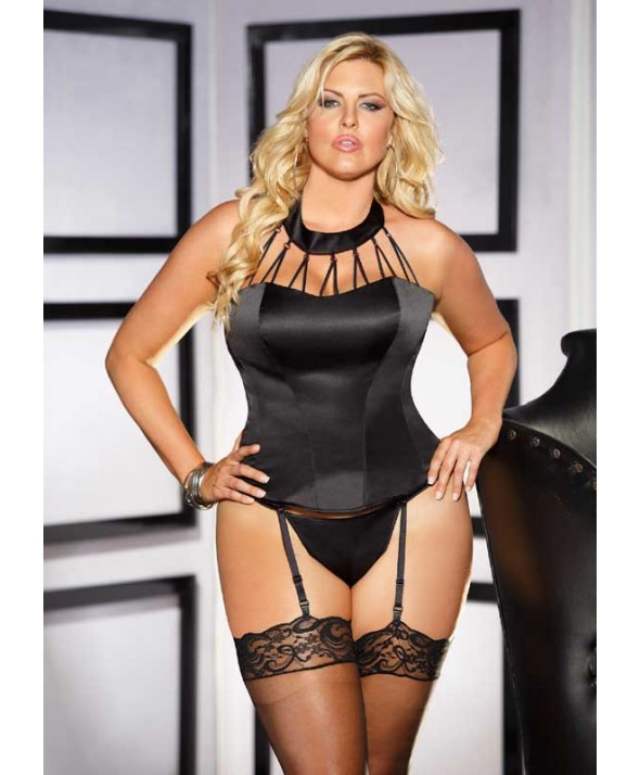 Black Satin Strappy Corset